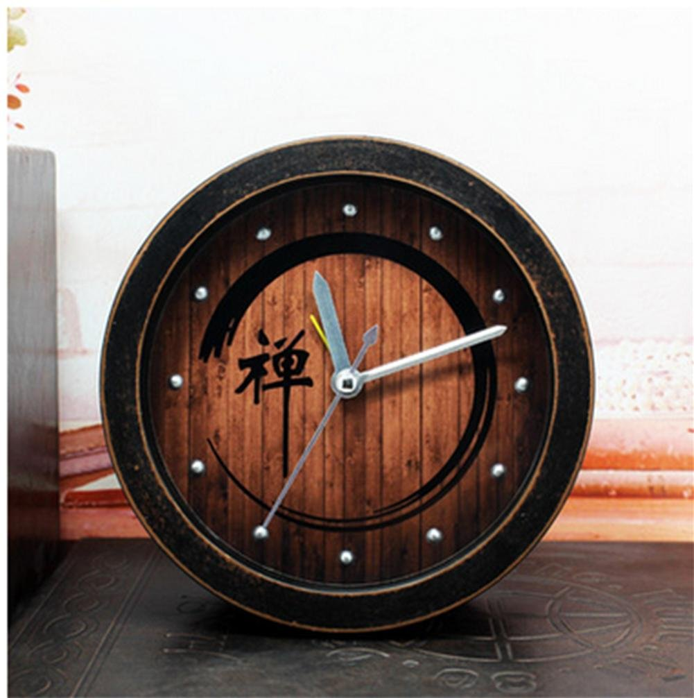 pengweiStile retr/ò cinese giardino legno Zen sveglia pigro desktop sveglie e meditazione Zen old black wood
