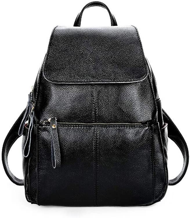 Climb Backpack Backpack Lady Leather College Fashion Backpack Leisure Travel Lady Bag Black 26/×15/×33CM