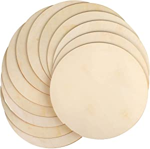 Unfinished Wood, WantGor 12 Pack 10 Inch Wood Circles Round Slices for DIY Crafts, Paint or Decorate, 0.1 inches Thick