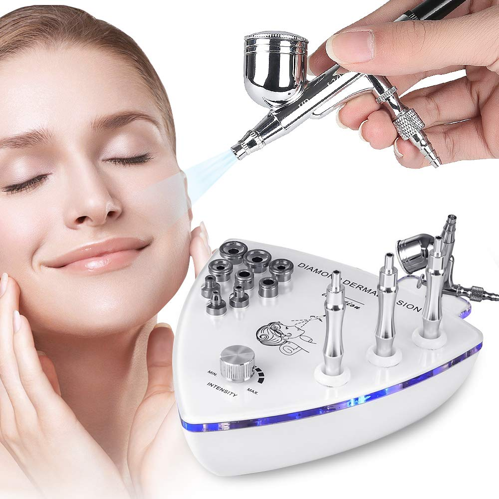 cenoz 3 in 1 Diamond Microdermabrasion Dermabrasion Machine with Spray Gun, Professional Home Use Facial Beauty Salon Equipment Suction Power 65-68cmhg