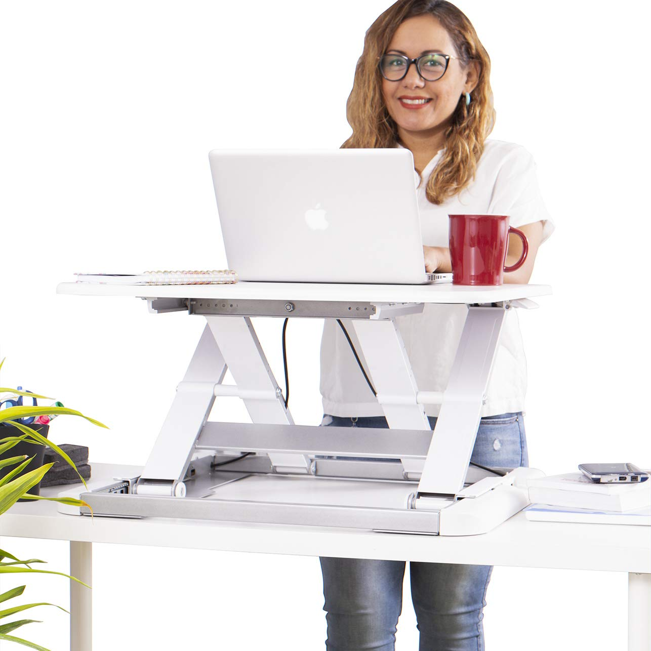 TOTALPACK Standing Desk Sit Stand Desk Converter - Anti Fatigue Height Adjustable Workstation, Extra Large 26.5'' x 22.2'' Desktop Surface, Easy to Raise & Lower - Pre-Assembled, White by TOTALPACK