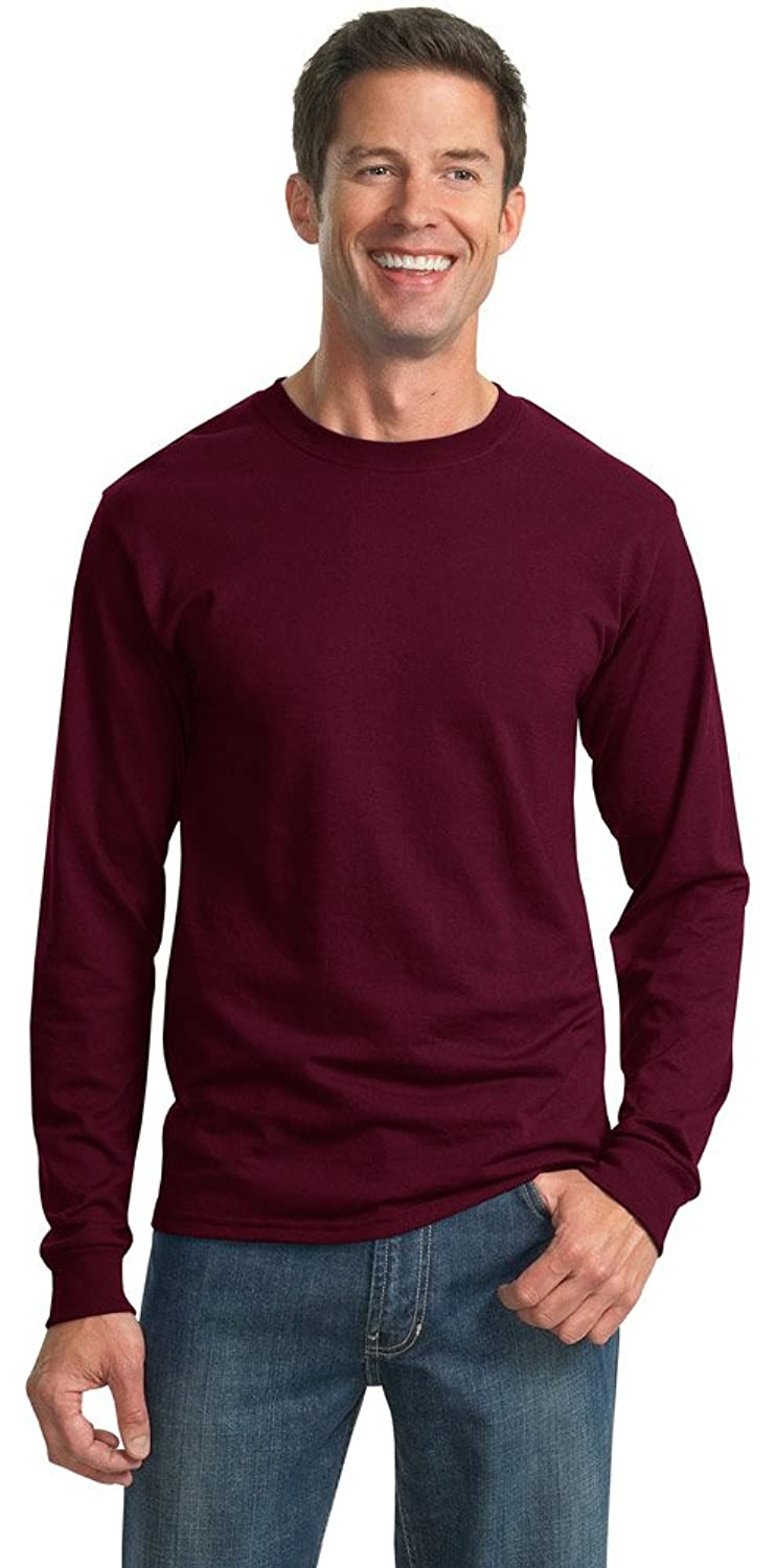 JERZEES Mens Heavy Blend Cotton/Poly Long Sleeve T-Shirt, Large, Maroon