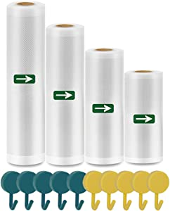 Vacuum Sealer Bags Rolls - 4 Pack (Width 6''/8''/10''/11'', Length 16.5') for Food Saver, Seal a Meal Vac Sealers, Heavy Duty Sous Vide Storage Bags, BPA Free, Fits inside All Vacuum Sealer Machines, Custom-size Food Bags, Extra Bonus 10 Pack Hooks
