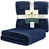 PAVILIA Luxury Soft Plush Navy Blue Throw Blanket for Sofa, Couch | Velvet Fleece Chevron Pattern Throw | Cozy Lightweight Microfiber, Reversible Blanket | All Season Use | 50 x 60 Inches