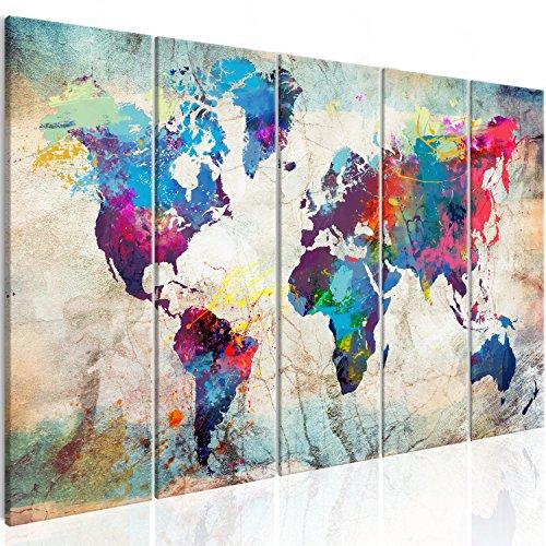 murando Cuadro Mapamundi 200x80 cm Impresion de 5 Piezas Material Tejido no Tejido Impresion Artistica Imagen Grafica Decoracion de Pared Mapa del Mundo Continente k-A-0179-b-n