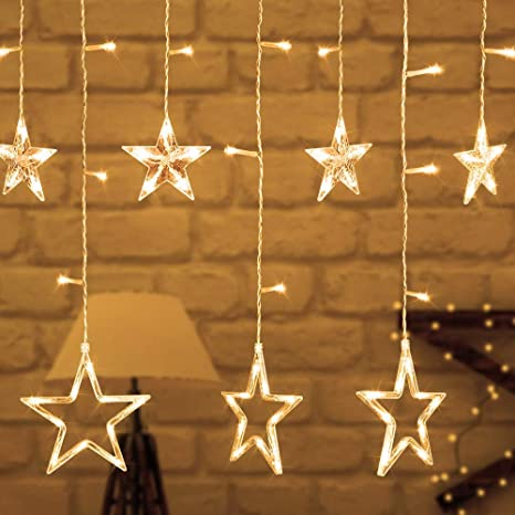lovelyhome Curtain String Lights, 2.5 m 138 LED Window Curtain Lights for Christmas Party Home Garden (12 Stars,Warm White)