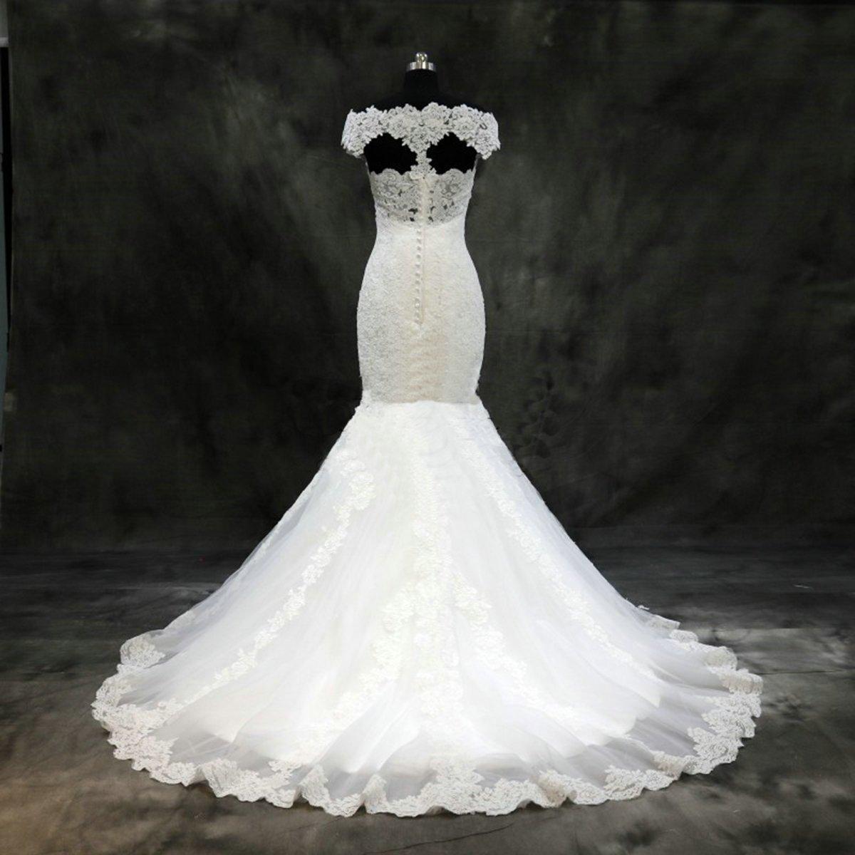 Girls Dress 2018 Vestidos de Novia Con Encaje Boat Neck Lace Appliques Mermaid Keyhole Back Wedding Dress for Bridal at Amazon Womens Clothing store: