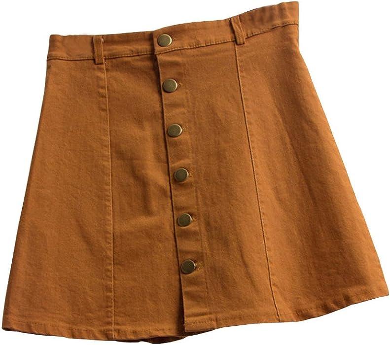 20b209d816 Conquro-falda de Mezclilla Falda Moda botón de Color sólido Una Falda  Palabra Viento Mini Falda Mujer Mujer Falda Acampanada con Pliegues Suaves  Mujer Falda ...