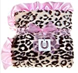 Max Daniel Baby Plush Print Baby Throw - Jaguar, Pink Ruffle