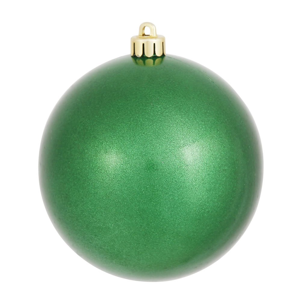 Vickerman Candy Finish Seamless Shatterproof Christmas Ball Ornament, UV Resistant with Drilled Cap, 12 per Bag, 3'', Green