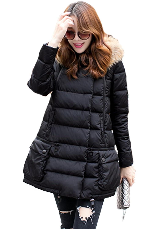 queenshiny Damen Lange Daunenjacke Mantel Jacke mit Waschbär Pelz Kragen mit Kapuze Mode Winter
