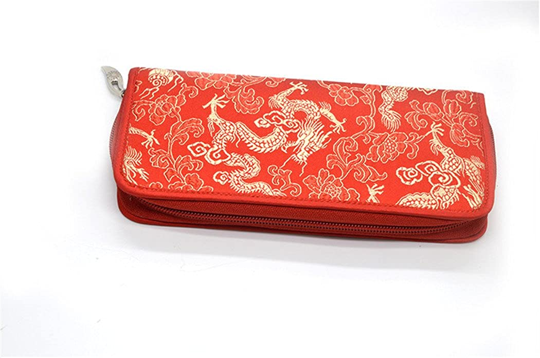 Chinese Silk Brocade Satin Pouch Dragon Handbag Coin Purses Long Wallet