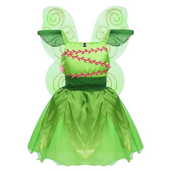 inhzoy Disfraz de Princesa Campanilla para Niña Traje Elfo ...