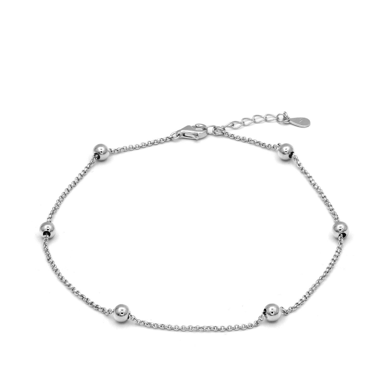 JXJL Minimalist Bead Link Anklet Sterling Silver Beaded Chain Anklet Adjustable Beach Foot Jewelry Bracelet