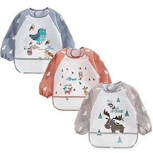 HaimoBurg 3 Pack Infant Toddler Baby Waterproof Sleeved Bib 6-36 Months