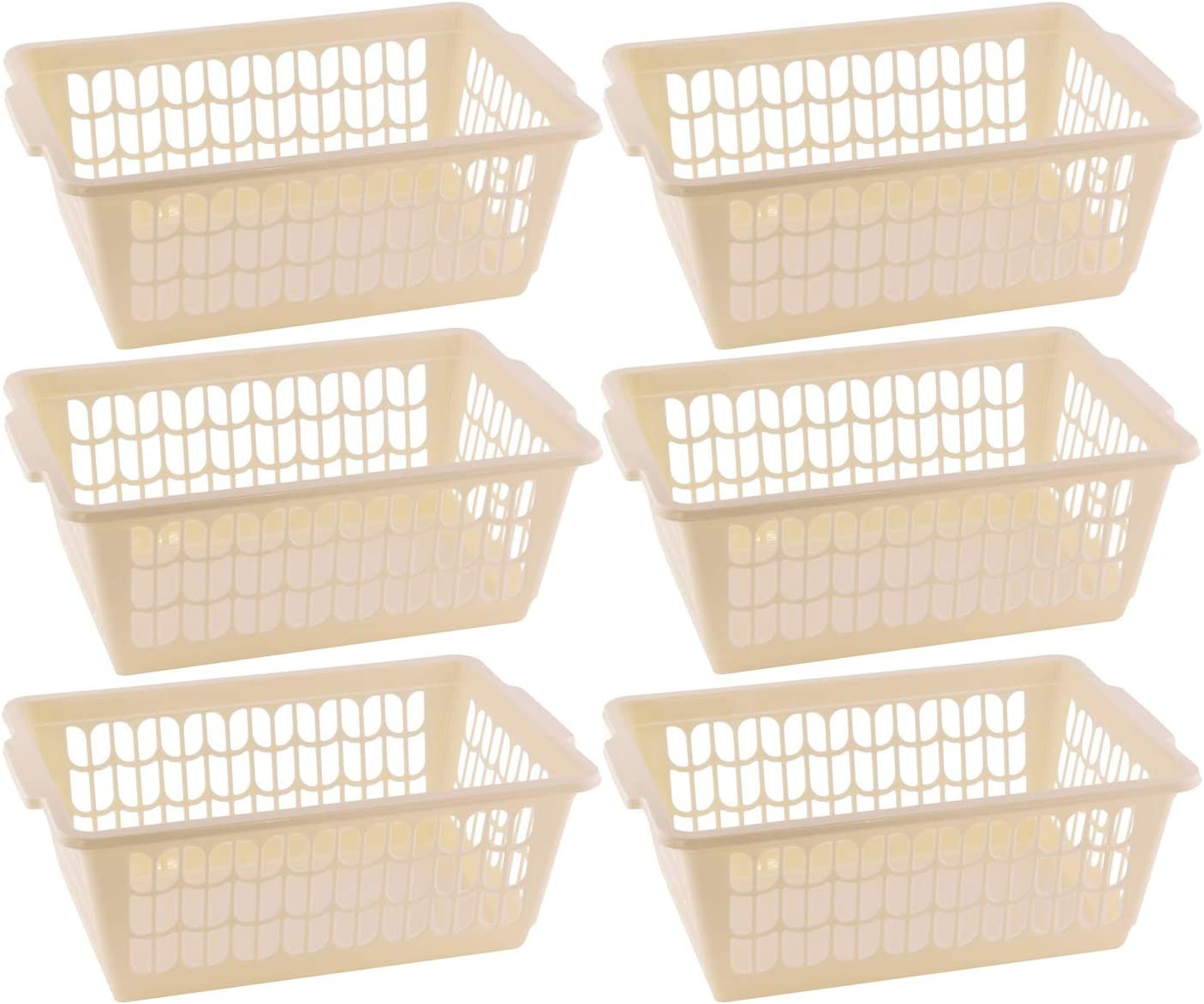 YBM HOME Plastic Perforated Storage Basket Bin Office Drawer, Shelf Desktop Countertop Tray Organizer 32-1188 (6, Beige)