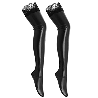 e3dcbfb4ad6 Women Wet Look Stockings Shiny Thigh High with Lace Trim Hold-ups Metallic  Tights Ladies Nightwear Clubwear Dance Party Costume Fancy Dress Black  ...