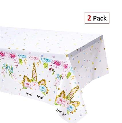 Amazon Com Exija 2 Pack Unicorn Plastic Table Cover 51 X 86