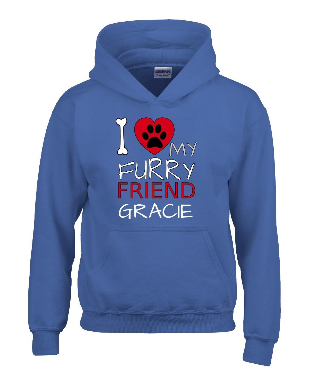 I Love My Furry Friend Gracie Custom Dog Owner Gift - Adult Hoodie Xl Royal