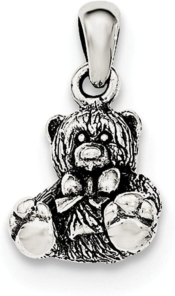 Sterling Silver Polished Textured Bear Pendant on a Sterling Silver Cable Snake or Ball Chain Necklace