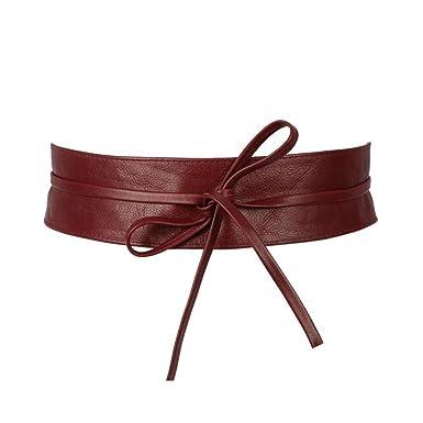 77ae909bd27 Olivia - Ceinture pour femme. large à nouer en cuir de vachette N1739  Bordeaux -