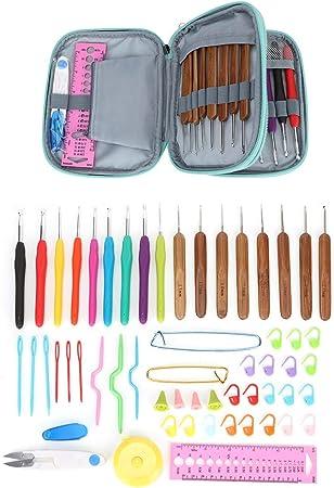 Herramientas para hacer punto, Juego de ganchos de ganchillo TPR duraderos Juego de herramientas para tejer agujas de tejer artesanales de bricolaje con estuche de almacenamiento para suéteres de punt: Amazon.es: Hogar