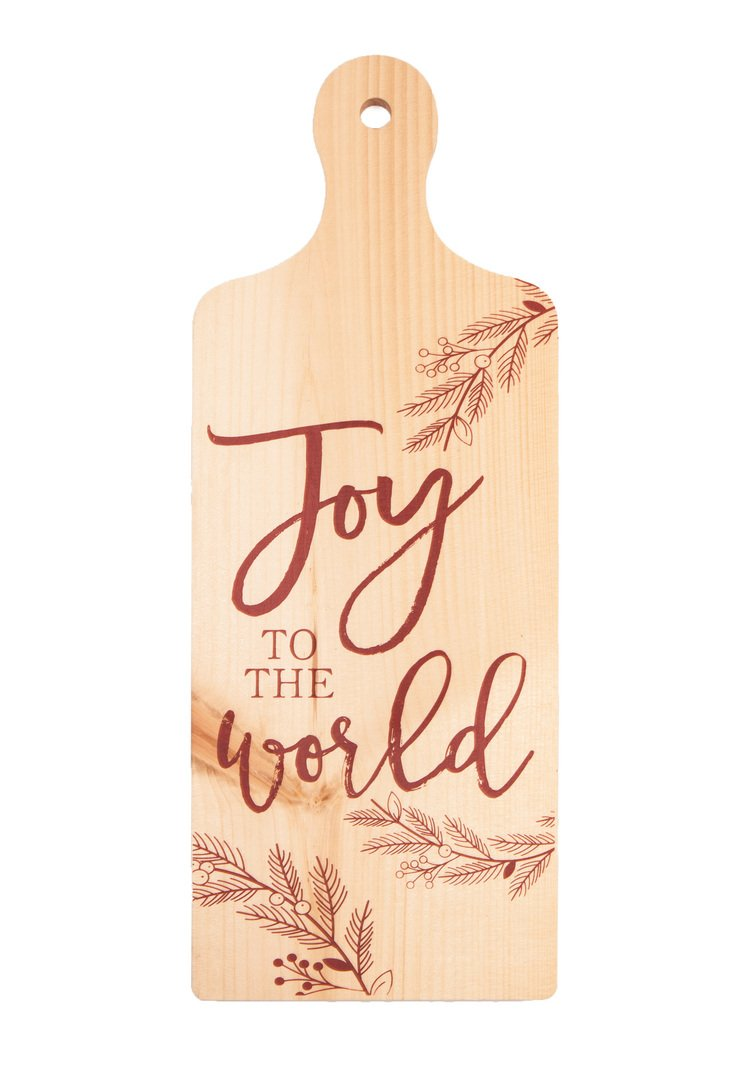 GRAHAM DUNN Joy to The World Natural 7.5 x 19 Wood Decorative Christmas Bread Board Wall Plaque P
