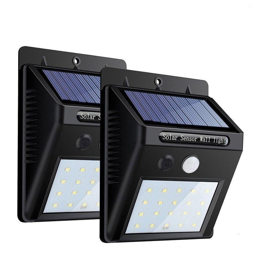 Xiangtat 改良版 センサーライト 人感ソーラーライト ボタン付き 20LED 3つ知能モード 太陽発電 屋外照明 2個 B078MLNZ63