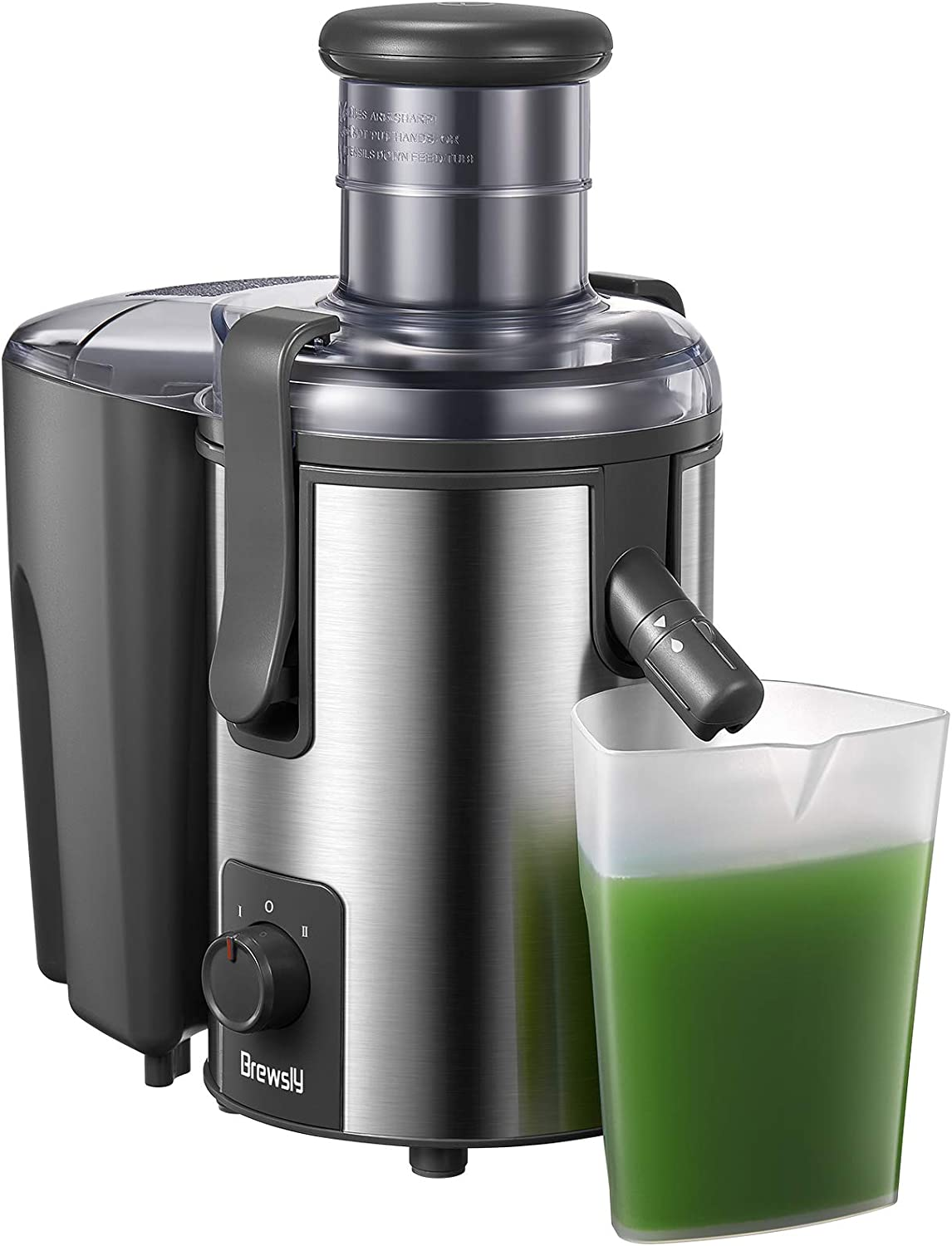 Juicer Machines, Brewsly Higher Juice Yield Juice Extractor Easy to Clean, Powerful 800W Motor for Vegetable and Fruit, 3'' Wide Mouth, Non-drip Function, 25 oz Juice Cup, BPA Free