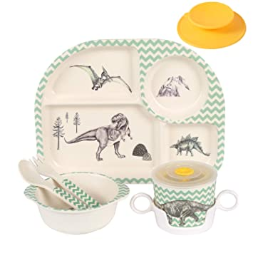 Kids Babies 5PCS Meal Dining Set Tableware Bamboo Fiber Plate Bowl Cup Fork spoon Truck