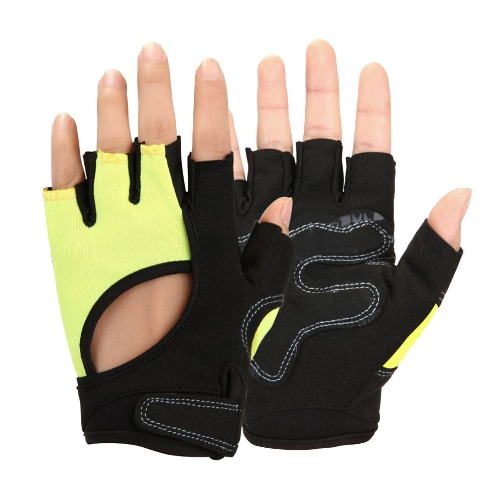 Baiyu Women Ladies Microfiber Half finger Gloves Gallant Padded Palm Weightlifting Glove Anti skid Cycling Equipment For Outdoor Bicycle Bike Gym Training Exercise Driving Running Jogging (Pink)