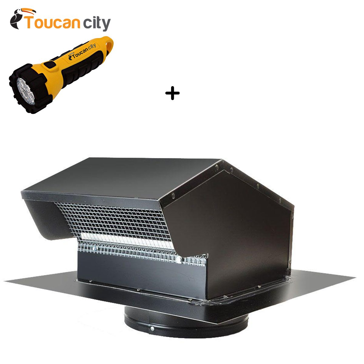 Toucan City LED flashlight and Master Flow 7 in. Goose Neck Vent - Roof Cap in Black GNV7BL