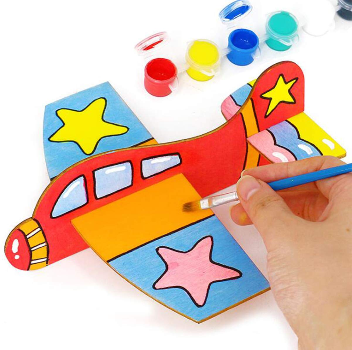 Glider Avion Juguete Infantil de Madera para Pintar DIY Manualidad Decoraci/ón Pintura de Arte y Artesan/ía de Bricolaje Liuer 6PCS Aviones planeadores