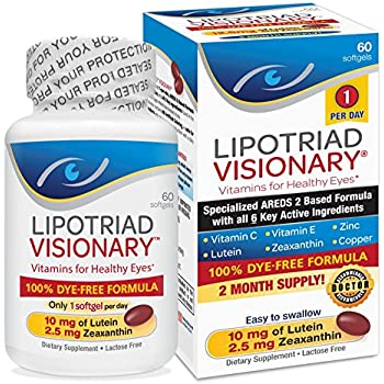 Lipotriad Visionary AREDS2 Based Eye Vitamin and Mineral Supplement - Includes all 6 key ingredients in the AREDS 2 Study - 2 Mo Supply, 1 Per Day, ...