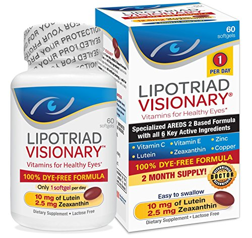 Lipotriad Visionary AREDS2 Based Eye Vitamin and Mineral Supplement – Includes all 6 key ingredients in the AREDS 2 Study – 2 Mo Supply, 1 Per Day, Dye Free, Safe for smokers- 60 Softgels Review
