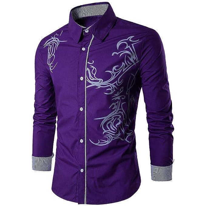 9fb2d9892128 UJUNAOR Männer Herbst Winter Shirt Herren Solide Hemd Slim Fit Freizeithemd  Langarm Bluse(Lila,