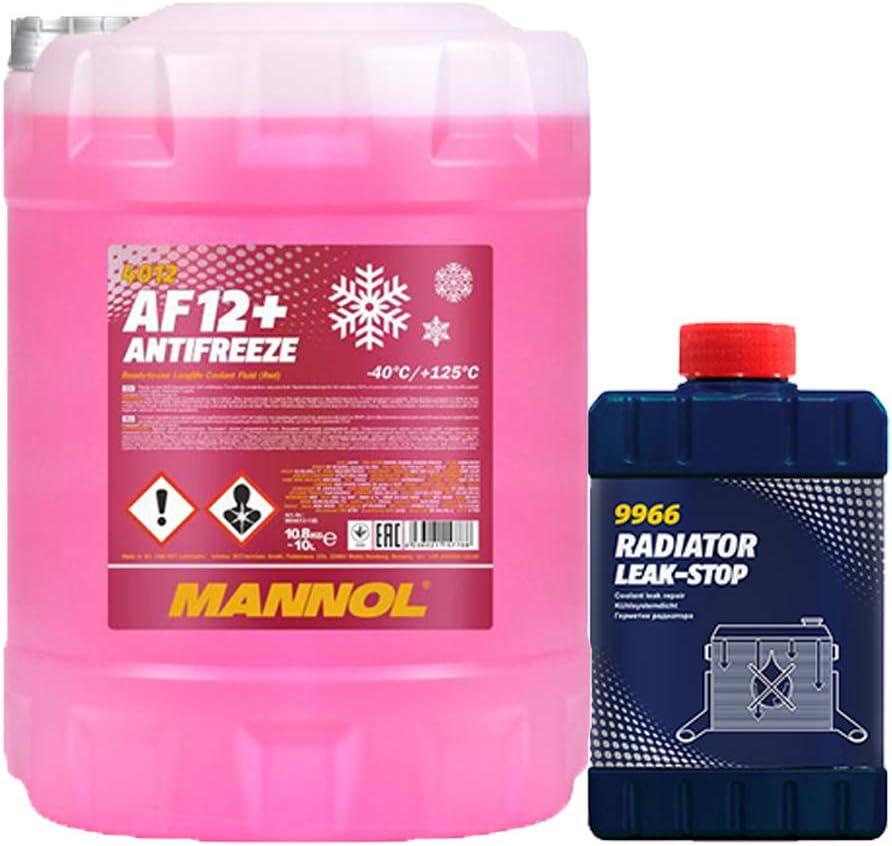 Mannol 10 Liter Af12 40 KÜhlerfrostschutz Fertigmischung Rot Kühler Dichtung Auto