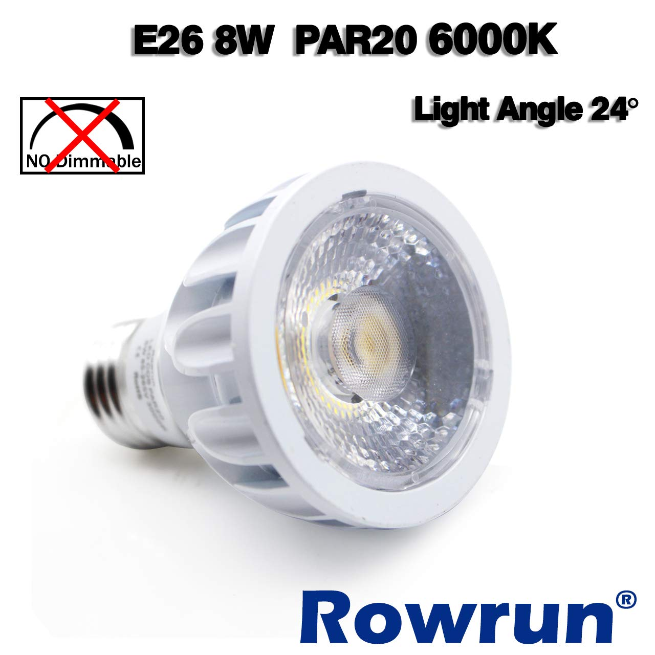 E26 Medium Base COB Spot Light 24/° Beam Angle High CRI 85+ 800LM AC 85-265V Flood Lamp 2-Pack by Rowrun PAR20 LED Bulb 3000K Soft White Non-Dimmable 8W 75 Watts Equivalent