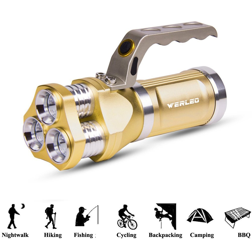 Werleo 2800 Lumens Rechargeable Outdoor LED Spotlight High Power Flashlight IP65 Waterproof CREE T6 Dimmable Handheld Searchlight Floodlight Torch Lamp For Camping Lantern,Hiking,Hunting,Emergency