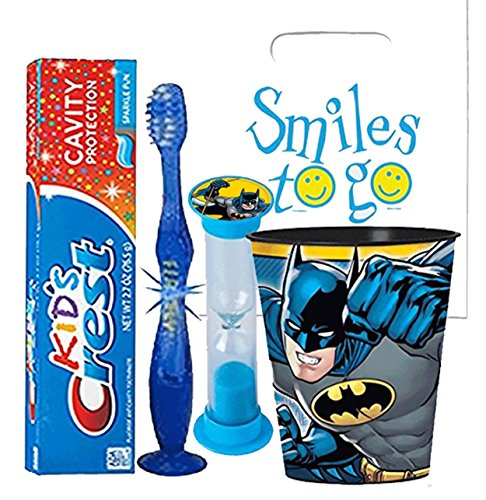 Batman 4pc Bright Smile Oral Hygiene Bundle! Light Up Toothbrush, Toothpaste, Brushing Timer & Mouthwash Rinse Cup! Plus Dental Gift Bag & Tooth Saver Necklace!