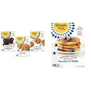 Simple Mills, Baking Mix Variety Pack, Chocolate Muffin & Cake, Chocolate Chip Cookie, Artisan Bread Variety Pack, 3 Count & Almond Flour Pancake Mix & Waffle Mix, Gluten Free, Made with whole foods