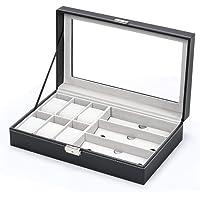 Jewelery Box & Watch Box Jewelry Storage Box Watch Box Organizer with Drawer Leather Case For Watch Jewelry Display, Leather + Fibreboard + Velvet, Black, W 34.6 x H 22.6 x L 11.2 cm