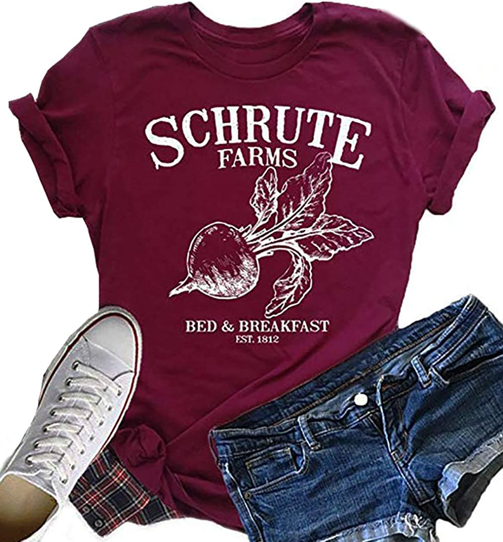 Schrute Farms Beets Shirt Tops Women's Letters Print Short Sleeve Tees Tops Casual Summer Cute Tshirt