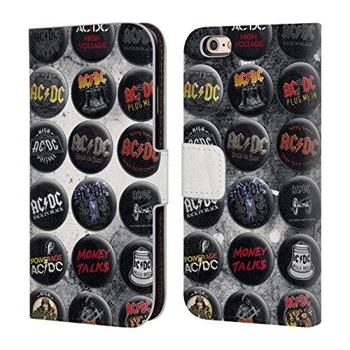 Officiel AC/DC ACDC Chansons Épingles De Bouton Étui Coque De Livre En Cuir Pour Apple iPhone 6 / 6s