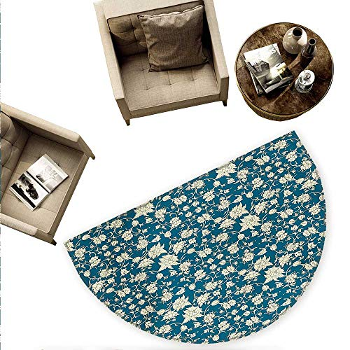 Chinese Semicircular Cushion Flowering Garden Pattern with Scroll Details Vintage Leaves and Blossoms Entry Door Mat H 66.9
