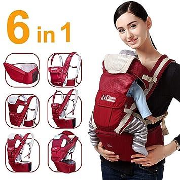 Mochila Portabebes,Baby Carrier,6 Posiciones De Transporte,Multifunción Safety Ajustable Recién Nacidos Strap Soft Wrap,Portador De Bebé con Cintura ...