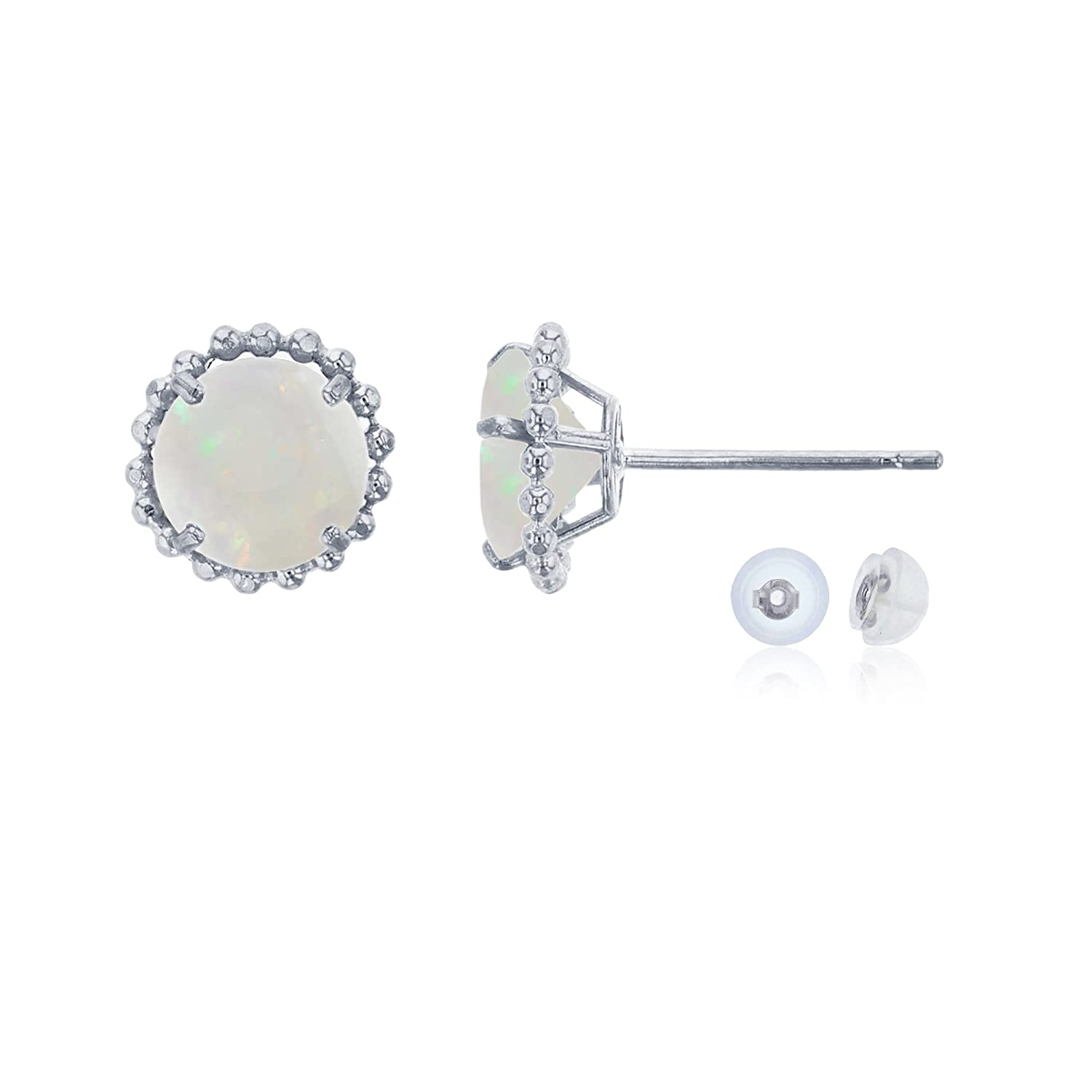 14K White Gold 5mm Round with Bead Frame Stud Earring with Silicone Back
