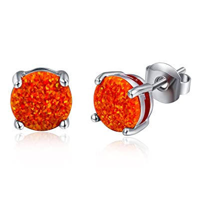 1fb4064a2 Image Unavailable. Image not available for. Color: Round Created Orange Opal  Stud Earrings 18K White Gold Plated ...