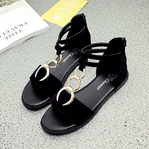 RUGAI-UE Sandalias de verano ronda hebilla de metal zapatos de mujer simple estudiante Black