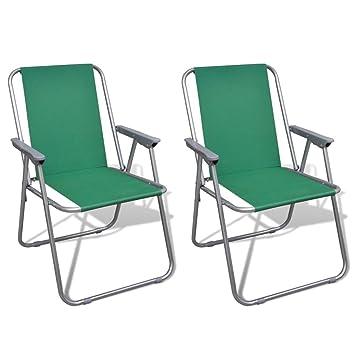 vidaXL Conjunto de 2 Sillas Verdes Plegables de Exterior ...